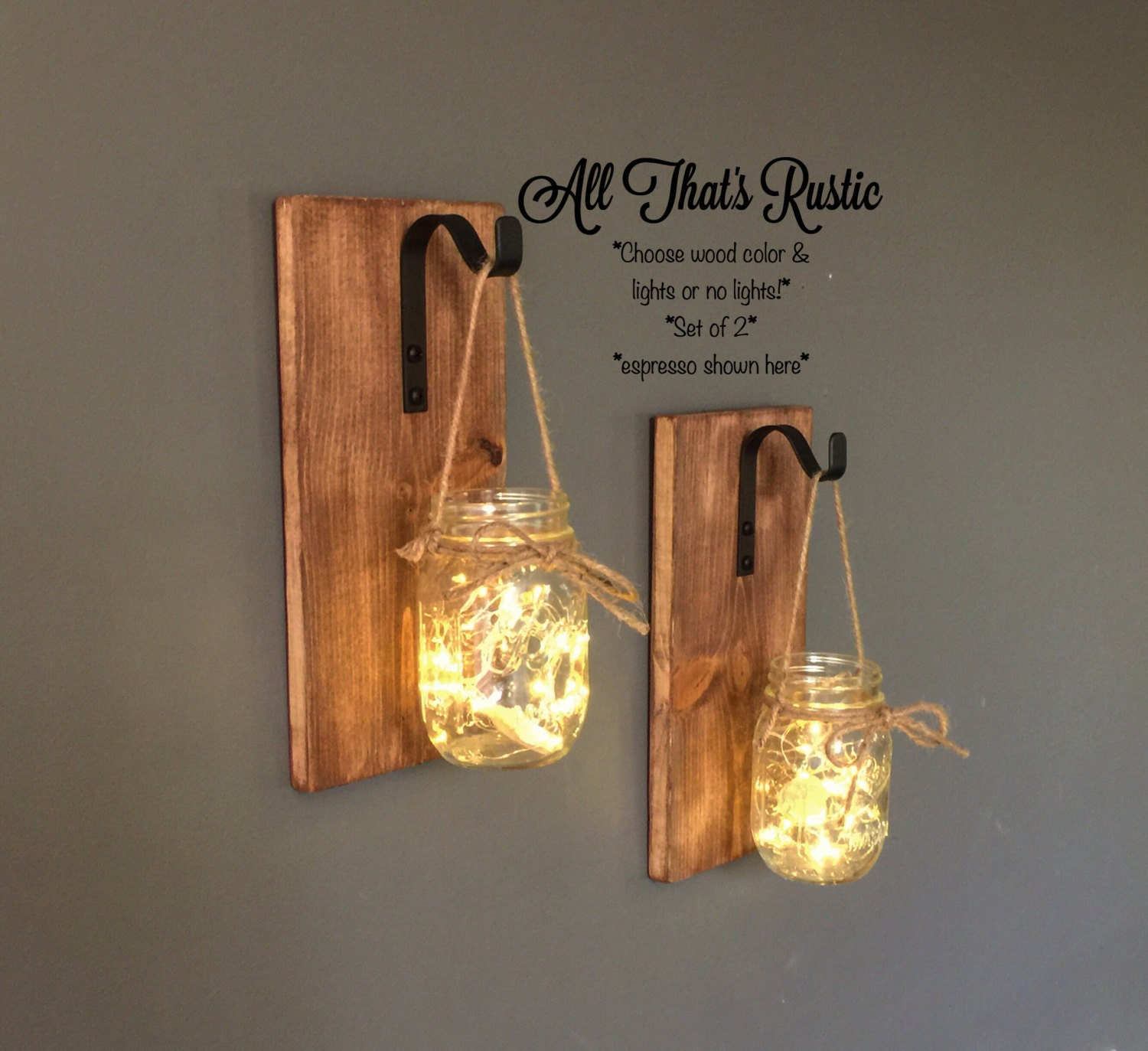 Home Decor Unique Jewelry Hand Crafted Gifts Candles In: Set Of 2 Hanging Mason Jar Sconces Mason Jar Sconce Mason