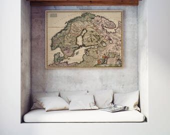 1680 Antique map of Scandinavia| Scandinavia Old Map| Baltic Sea| Baltic States Old Map| North Europe Map| Vintage Wall Map| Old Map| AMC061