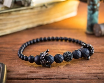 8mm - Black Kingdom - Matte black onyx & lava stone beaded stretchy bracelet with black micro pave crowns, mens bead bracelet, black