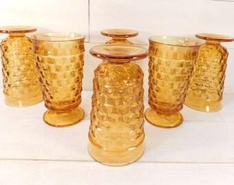 Vintage Indiana Glass Whitehall Gold Pedestal Glasses, Retro Gold Glassware