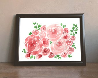 Watercolor Rose Impression Painting Original