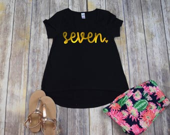 Birthday Shirt 7, Girls Birthday Shirt, Black & Gold Shirt, Girls 7 Shirt, Girls Seven Shirt, Seven Birthday Shirt, Seven Tee, Shirt ONLY