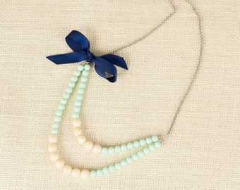 Navy, Mint, and Ivory Layered Beaded Necklace with Ribbon Detail, Long Layered Necklace, Colorblock