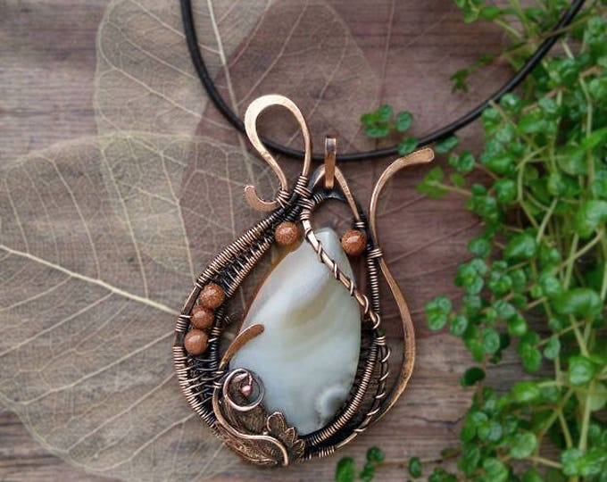 Wire wrapped striped agate pendant with aventurine beads, Copper Wire winding, Fantasy, Birthstone, Natural stone, Semi precious jewelry