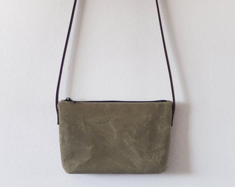 Small olive waxed canvas crossbody bag with leather straps