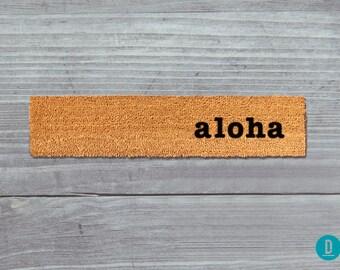 Aloha Skinny Doormat, Aloha Door Mat, Aloha Welcome Mat, Skinny Door Mat, Skinny Doormat, Slim Doormat, Slim Mat, Aloha Mat, Thin Doormat