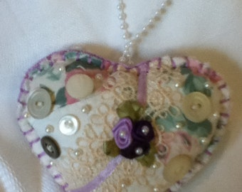 Shabby chic heart sachet/ornament Hand Sewn from old quilts, vintage buttons and embellishments