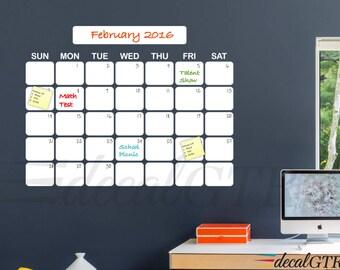 27x35 Dry-Erase Calendar Decal - Dry Erase Wall Calendar Vinyl Decal - White Board Monthly Wall Calendar Sticker - D007A