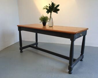 Solid Wood Dining Table Vintage Farmhouse Antique