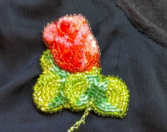 Brooch beaded red rose brooch handmade. Made to order