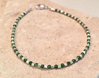 Green bracelet, onyx bead bracelet, gemstone bracelet, Hill Tribe silver bracelet, natural bracelet, small bracelet, dainty bracelet