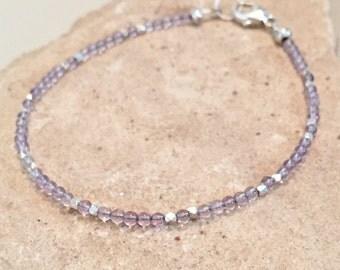 Dainty bracelet, purple bracelet, amethyst bracelet, Hill Tribe silver bracelet, sundance style bracelet, small bracelet, gift for her