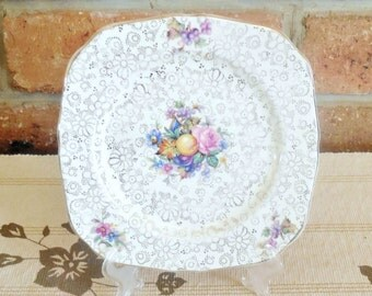 H&K Tunstall Hollinshead and Kirkham 16cm side plate chintz floral fruit motif 1940s