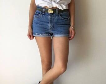 Vintage high waisted cutoff mom short jeans LOIS blue denim distressed highwaist women hipster festivals summer outfit normcore high rise