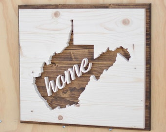 "West Virginia State Wood Plaque Silhouette with ""Home"""