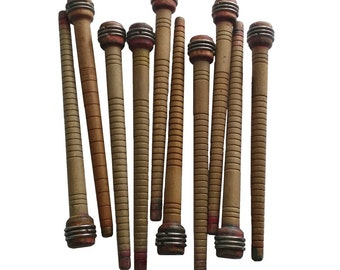 LOT of 10 - Vintage Wooden Spindles Spool Bobbins Textile Quills