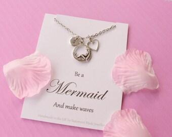 Mermaid necklace, Mermaid jewellery, siren necklace, Message card necklace,  inspirational message necklace, christmas gift,MCNmermai01