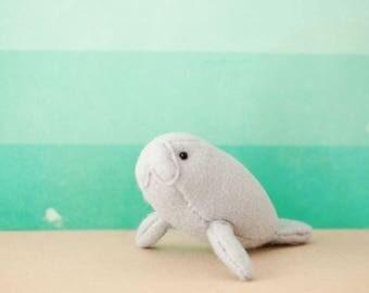 Delilah the Manatee - Hand-sewn Stuffed Sea Creature, felt softie, ocean animal, marine mammal, cute friend gift, sea cow pocket totem