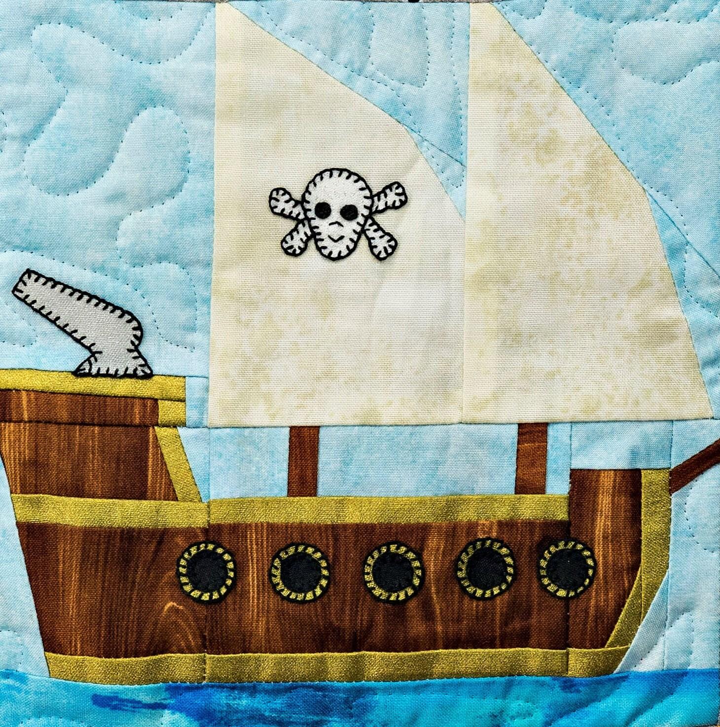 pirate ship paper pieced pdf quilt pattern baby boy u0027s or child u0027s