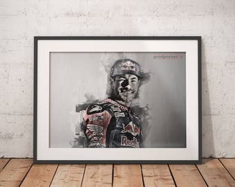 Nicky Hayden print Nicky Hayden poster moto GP wall art home decor