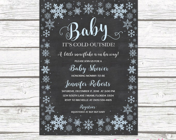 Winter Wonderland Baby Shower Invitation, Baby It's Cold Outside Baby Shower Invitation Boy, Snowflake Baby Shower Invitation, Chalkboard