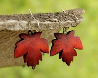 Birthday gift Woodland jewelry dangle earring drop earring Leaf jewelry Wooden jewelry Wooden earring Wood jewelry Wood earring Leaf earring
