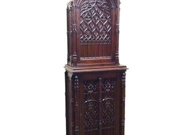 Antique French Gothic Cabinet Beautiful Model Tall Spires Great Carving 19th Century #7858