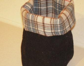 Black Denim Basket with Plaid Flannel Lining