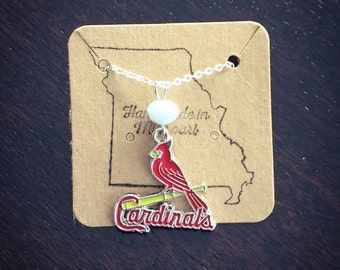 ON BACKORDER- Cardinals logo necklace with white bead
