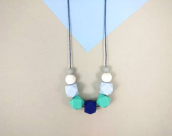 Silicone Teething Necklace - Blue, Marble, Grey | Mother's day | New Mum Gift | Geometric Necklace | Baby Shower Gift | Chewelry | Soother
