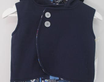 Navy Teddies Hooded Vest