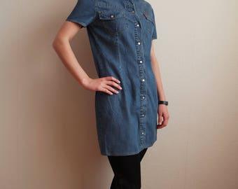 Vintage Denim  Lee Cooper Dress Jeans Serafan Blue Button up Jeans Coat Short Sleeves