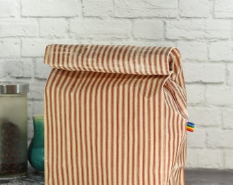 Reusable Lunch Bag - Red Ticking Fabric - Eco Friendly - Waxed Canvas - Zero Waste - Large Reusable Bag for Men or Women - Hand Waxed Canvas