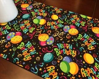 """Happy Birthday Table Runner - 40"""" Table Runner - Reversible Table Runner - Party Table Runner - Cake Table Runner - Rainbow Table Runner"""