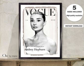 Audrey Hepburn print, Vogue Poster, Gift For Her, Vogue Cover 1959 Audrey Hepburn, Fashion Wall Art, Home Decor, Art Print
