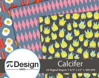 """Calcifer Howls Moving Castle 8.5""""x11"""" Digital Paper 10 Pack 