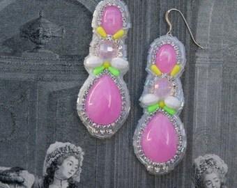 Patel Pink Statement Earrings; Pink Resin Earrings; Marie Antoinette Earrings; Pastel Pink Earrings; Baroque Earrings