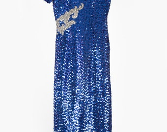 Gorgeous vintage blue sequin prom dress with arms frills and silver sequin detail