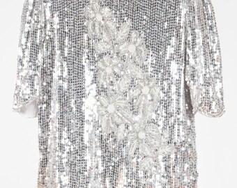Vintage silver sequin evening top