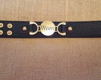 Mom Bracelet- Mom Leather Cuff Bracelet- Personalized Leather Cuff Bracelets