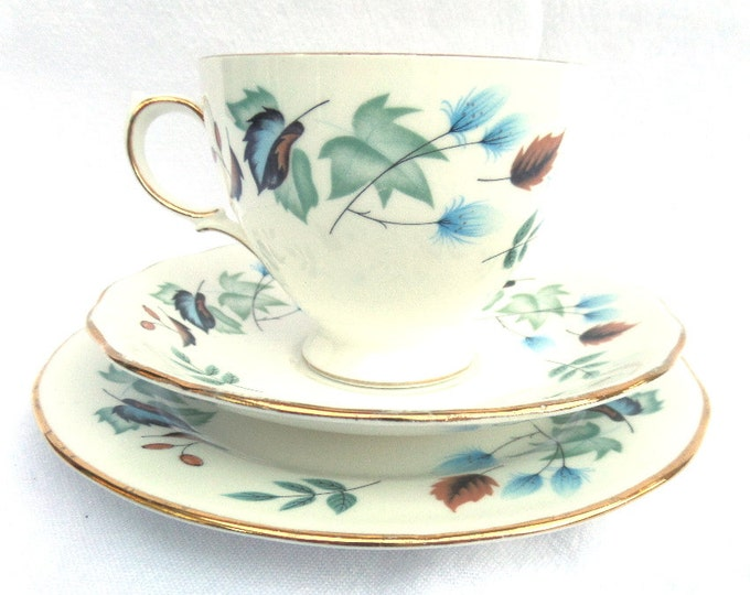 FREE SHIPPING Colclough Blue Linden Tea Trio, Bone China Tea Cup, Saucer and Plate, Immaculate Condition, Vintage 1960's English China
