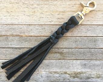 Black Leather Keychain, Purse Charm, Braided Tassel Keychain, Black Leather Fringe Keychain, Tassel Bag Charm, Braided Leather Key Fob