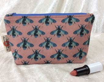 Bees Zip Case Bag Pouch fabric Handmade in England