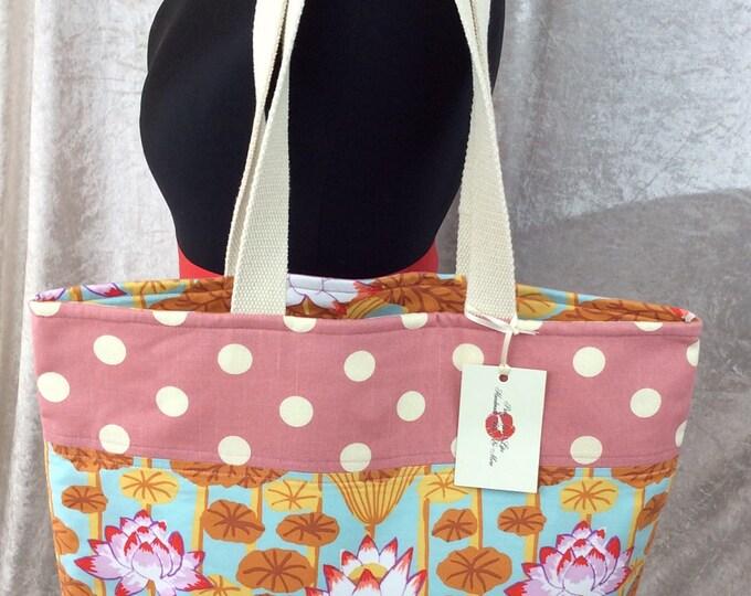 Lotus Flowers Day Bag Tote fabric handbag shoulder bag purse Handmade in England