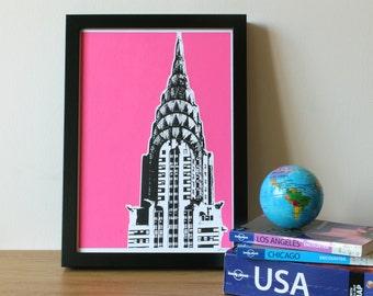 Chrysler Building, Pink, New York Print, Architecture Print, Screenprint, A4, USA, Home Decor, Print, Silkscreen, Gift, Handprinted