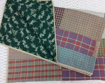 Plaid Quilt with Green Leaf Back