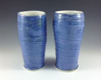 Blue Ceramic Tall Tumbler, Beer Stein, Beer Glasses, Tall Ceramic Cup, Large Coffee Mug