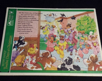 Vintage 1994 Muppet Babies Twelve Days of Christmas Frame-Tray Puzzle