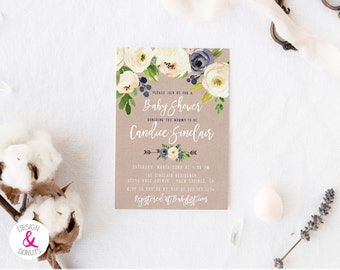 Gender Neutral Rustic Baby Shower Invitation, Printable, White Navy Floral  [478]