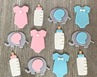 Gender Reveal Cupcake Toppers - Boy or Girl? - Edible Fondant - Set of 12